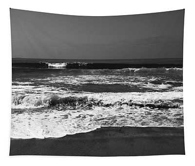 Black And White Beach 4- Art By Linda Woods Tapestry
