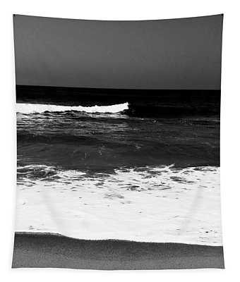 Black And White Beach 5- Art By Linda Woods Tapestry
