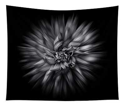 Black And White Flower Flow No 5 Tapestry