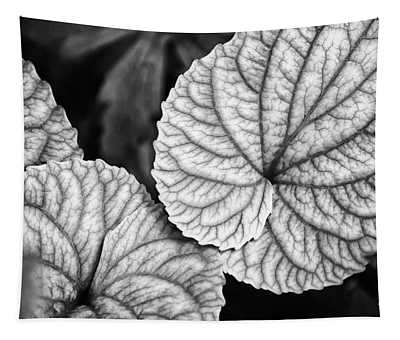 Black And White Leaves Abstract Tapestry