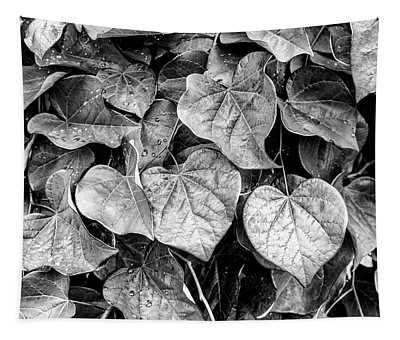 Black And White Leaves From A Red Leaf Tree Tapestry