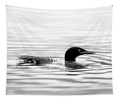 Black And White Loon  Tapestry