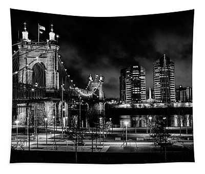 Black And White Roebling Bridge Tapestry