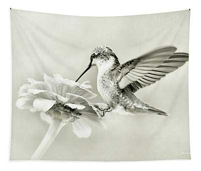 Black And White Ruby Throated Hummingbird Tapestry