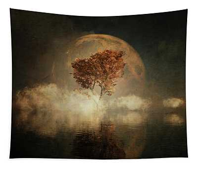 Black Ash With Full Moon In The Mist Tapestry