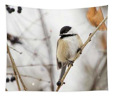 Black Capped Chickadee In Falling Snow Tapestry