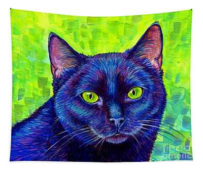 Black Cat With Chartreuse Eyes Tapestry