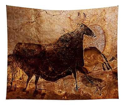 Black Cow And Horses Tapestry