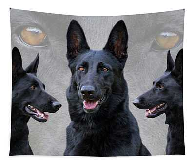 Black German Shepherd Dog Collage Tapestry