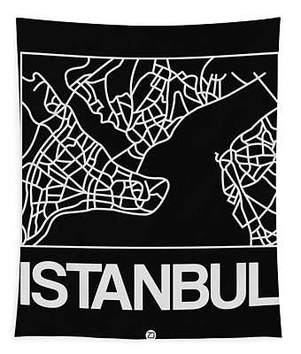 Black Map Of Istanbul Tapestry