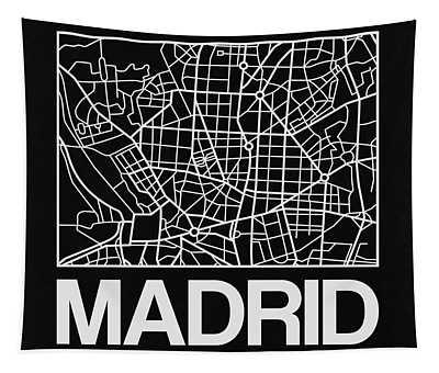 Black Map Of Madrid Tapestry
