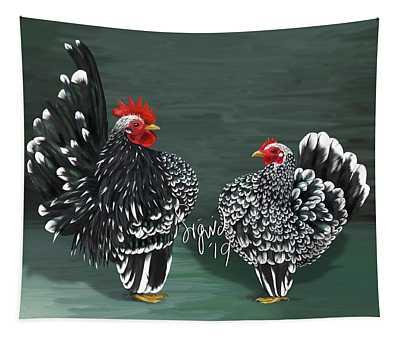 Black Mottled Serama Pair Tapestry