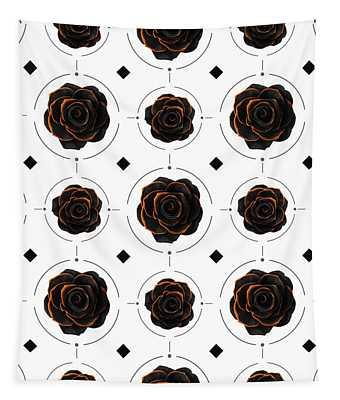 Black Rose Pattern - Black And Gold Rose - Death - Minimal Black And Gold Decor - Dark 3 Tapestry