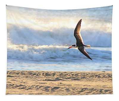 Black Skimmer Soaring Tapestry