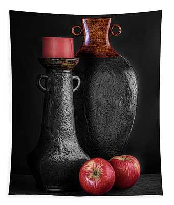 Black Vase With Red Apples Tapestry
