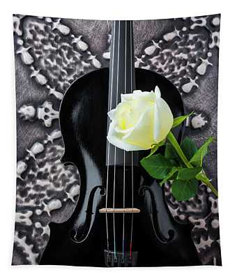 Black Violin And White Rose Tapestry