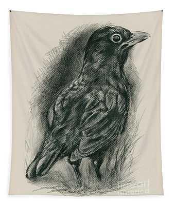 Blackbird In The Grass Tapestry