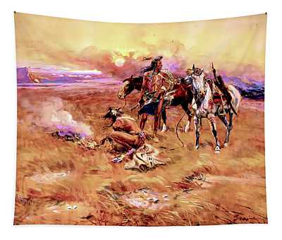 Blackfeet Burning Crow Buffalo Range Tapestry