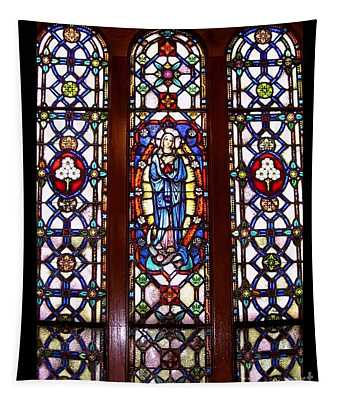 Blessed Virgin Mary Stained Glass Window At Benedictine Monastery Tapestry