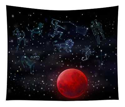 Blood Moon And Constellations Tapestry