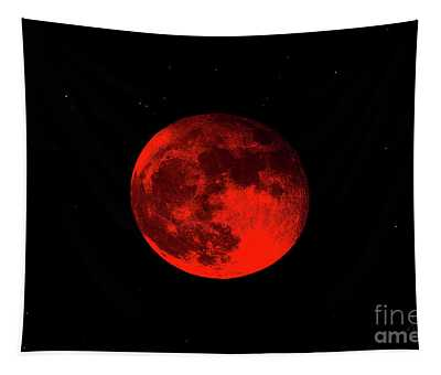 Blood Red Wolf Supermoon Eclipse 873a Tapestry