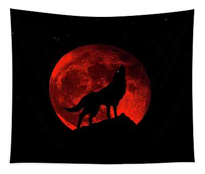 Blood Red Wolf Supermoon Eclipse 873l Tapestry