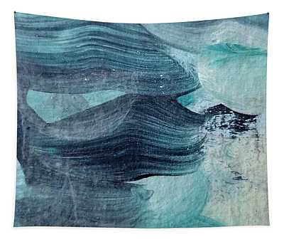 Tapestry featuring the painting Blue #3 by Maria Langgle