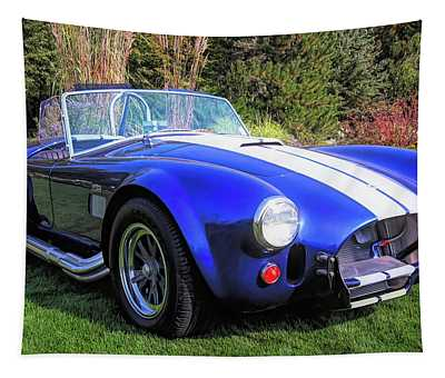 Blue 427 Shelby Cobra In The Garden Tapestry
