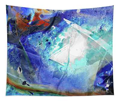 Blue Abstract Art - Storm Chaser - Sharon Cummings Tapestry