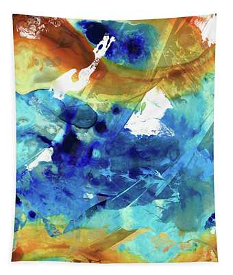 Blue Abstract Art - Time And Tide - Sharon Cummings Tapestry