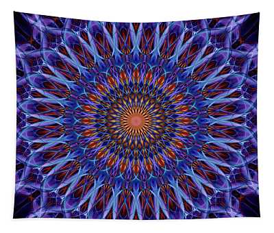 Blue And Orange Mandala Tapestry