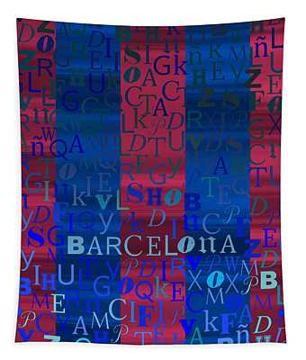 Blue And Purple Barcelona Tapestry