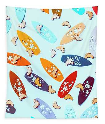 Blue Boarding Beach Tapestry