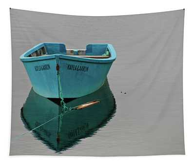 Blue Boat Floating Tapestry