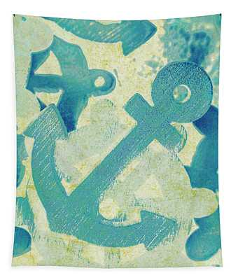 Blue Boating Button Tapestry