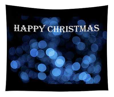 Blue Bokeh - Happy Christmas Tapestry