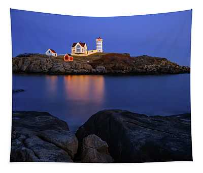 Blue Christmas, Nubble Lighthouse Tapestry