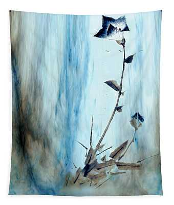 Blue Flower Abstract Tapestry