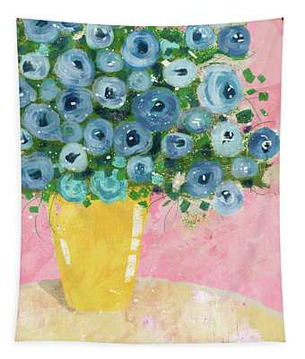 Blue Flowers In A Yellow Vase- Art By Linda Woods Tapestry