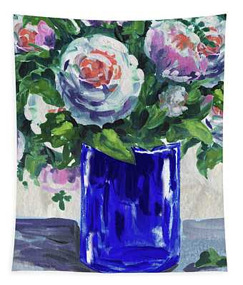 Blue Glass And Flowers Bouquet Impressionism  Tapestry