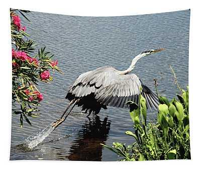 Blue Heron Take Off Tapestry