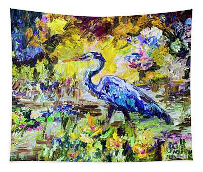 Blue Heron Wetland Magic Palette Knife Oil Painting Tapestry