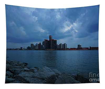 Blue Hour Detroit Tapestry