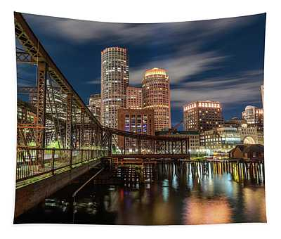 Blue Hour In Boston Harbor Tapestry