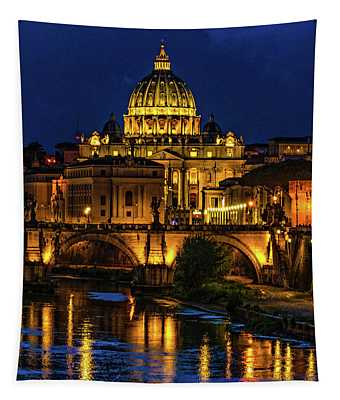Blue Hour On The Tiber River Tapestry