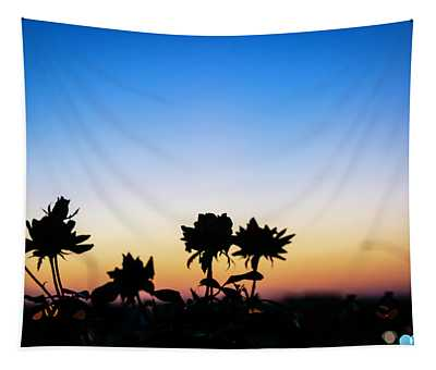 Blue Hour Sunset With Flowers Tapestry