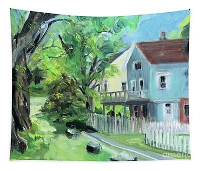 Blue House On A Spring Morning Tapestry