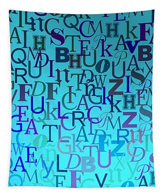Blue Letters Over Blue Backlight Tapestry