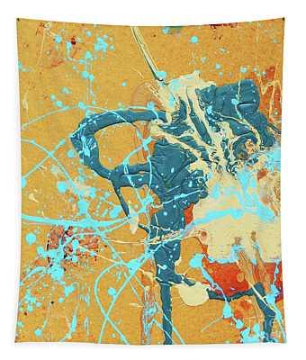 Blue Line Excite Art Pulse Grace Divine                                            Tapestry