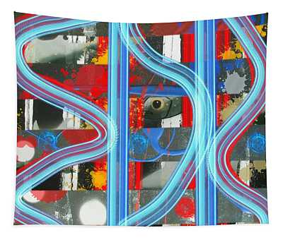 Blue Meet Red Black And White Fish Tapestry